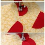 手工DIY大红花朵靠垫