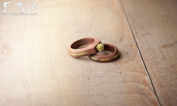 选用实心胡桃木雕刻制作的戒指