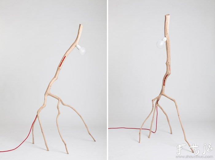 树枝手工制作独一无二的灯具