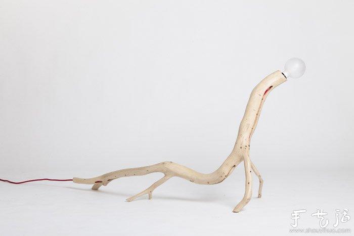 树枝手工制作独一无二的灯具(2)