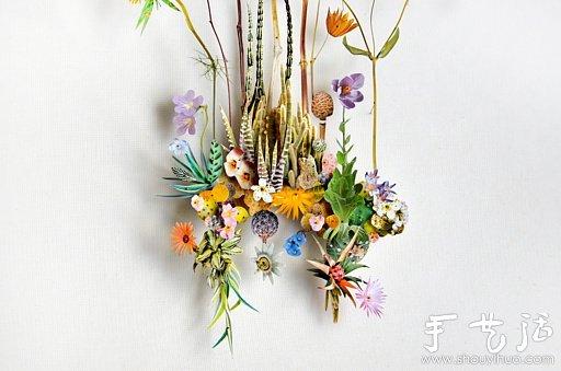 纸花和树枝diy的精美纸艺作品(4)