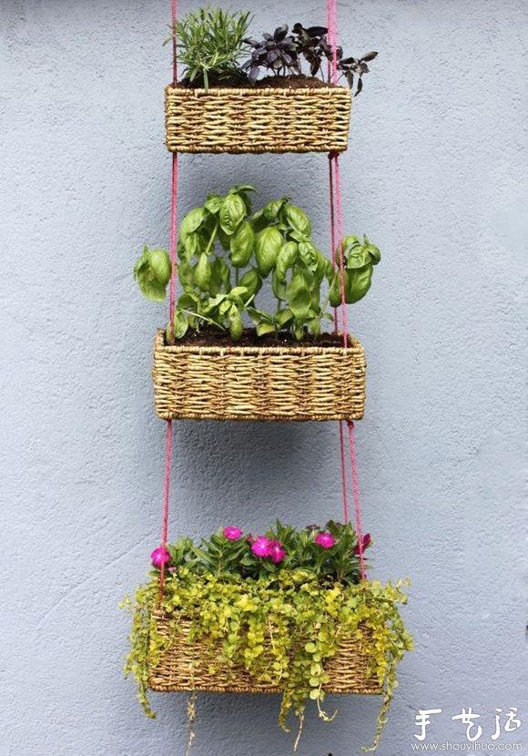 废物利用小制作,自制漂亮挂篮花盆图片