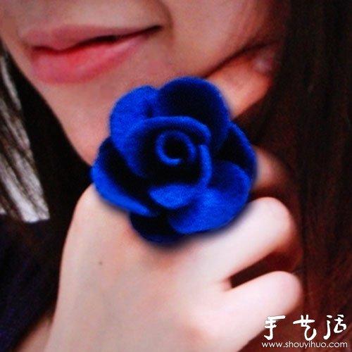 羊毛毡手工制作玫瑰花指环