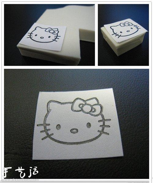 Hello Kitty橡皮章手工制作教程 -  www.shouyihuo.com