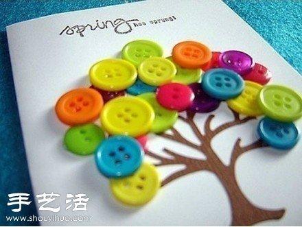 小制作 创意手工 创意diy  小小的纽扣也能玩出很多花样,diy装饰画