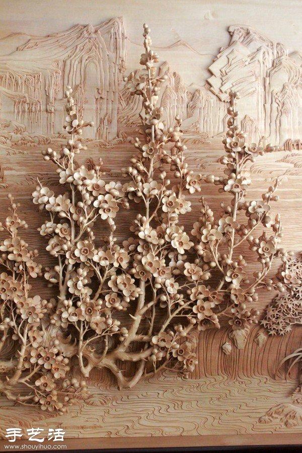 梅花,菊花等花卉的木雕作品