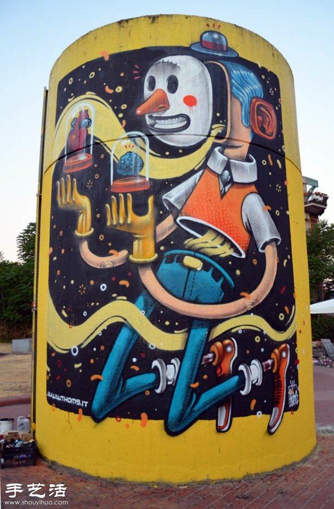 创意街头涂鸦作品 充满奇幻色彩的墙画