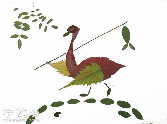 树叶+创意 手工制作有趣的拼贴画 -  www.shouyihuo.com