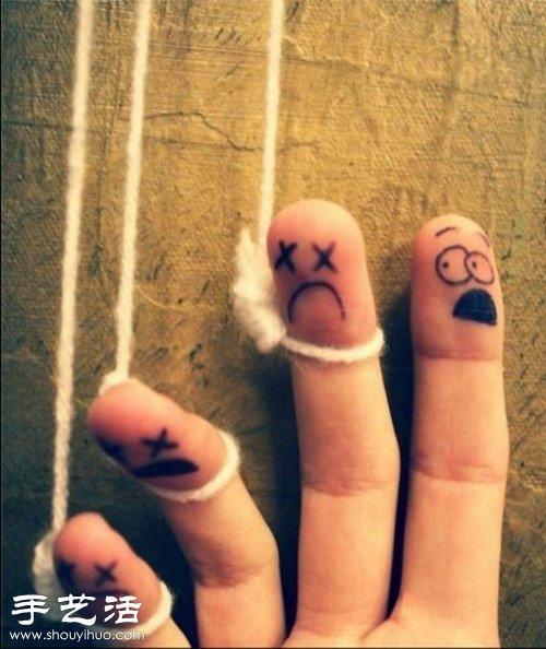 """手指 简笔画 diy另类恶搞""""爱相随"""""""