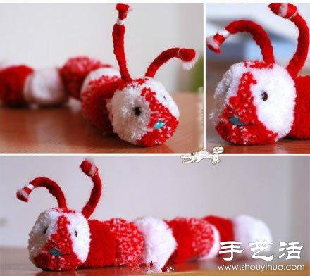 毛线+叉子+串珠 手工制作可爱毛毛虫玩具 -  www.shouyihuo.com