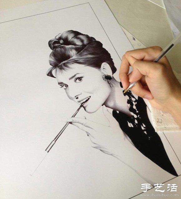 圓珠筆手繪栩栩如生的明星肖像