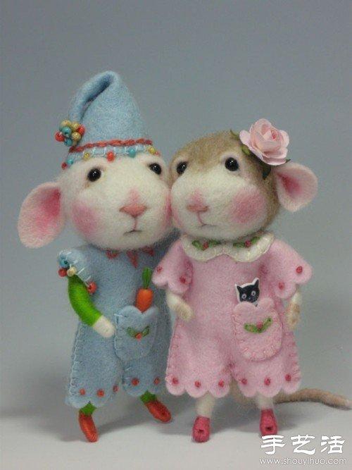 羊毛毡手工制作超萌小老鼠