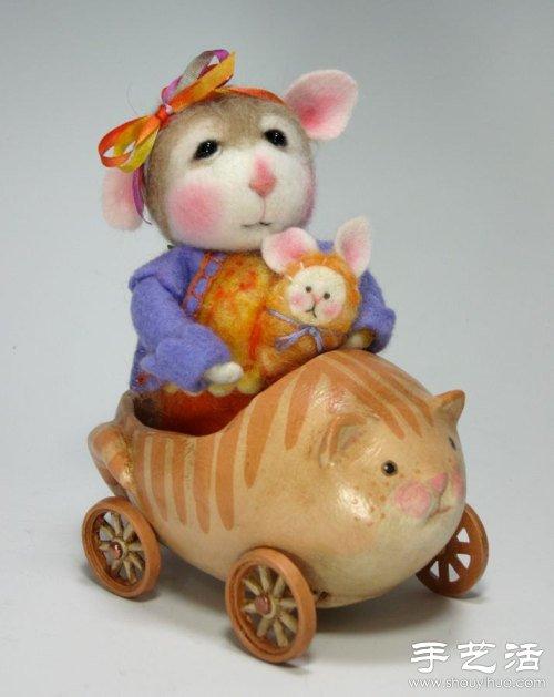 羊毛毡手工制作超萌小老鼠(2)