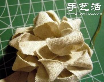 布条+卡纸 手工制作森系布艺花朵