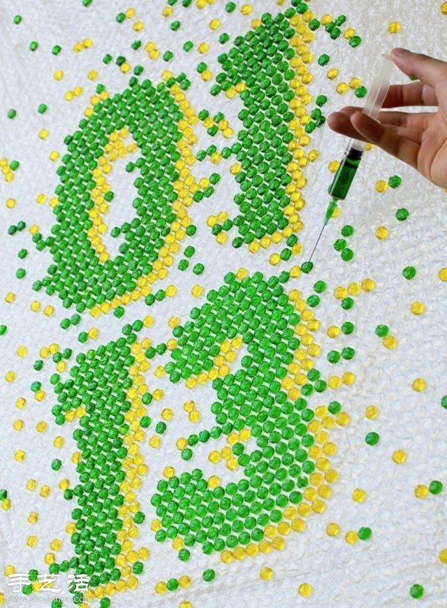 汽泡紙+針管+顏料 創意DIY時尚立體圖案