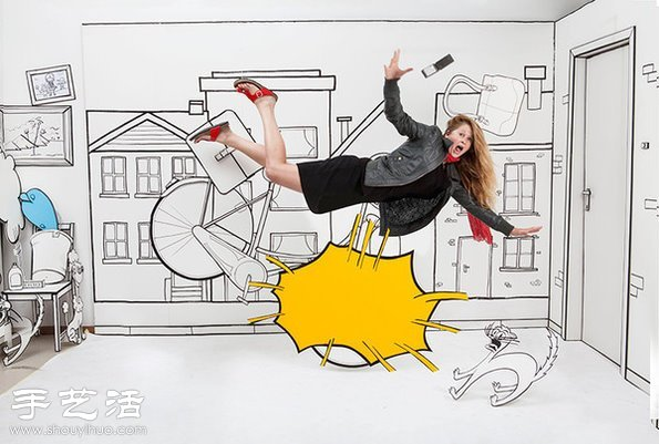 手繪和拼貼畫DIY搞怪有趣生活場景