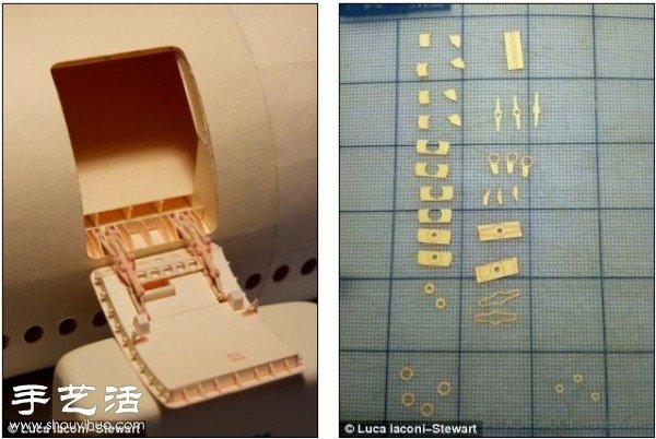 硬纸板diy制作超精细波音777飞机模型(3)