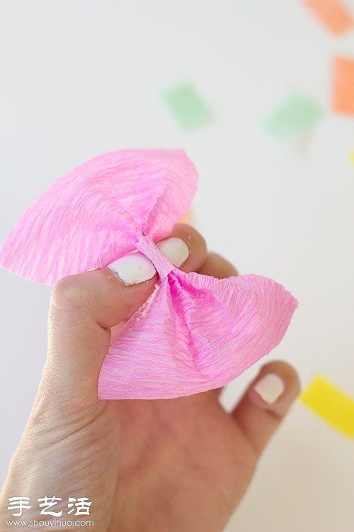皱纹纸手工制作漂亮蝴蝶结装饰