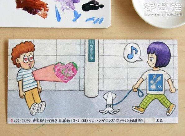 小制作 创意手工 创意画作  手绘与邮票图案巧妙结合 diy暖暖的信封