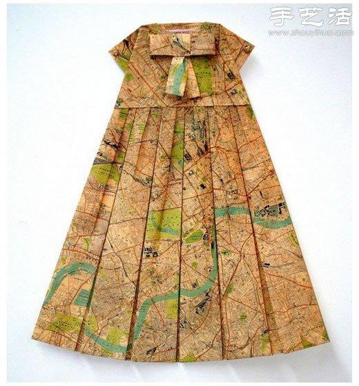 創意摺紙DIY:地圖摺紙漂亮連衣裙