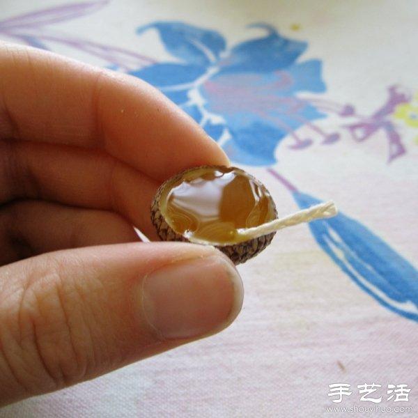橡果壳 蜂蜡 DIY漂浮在水面上的浪漫烛台