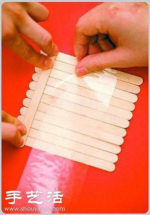 冰棒棍变废为宝手工制作花篮的方法