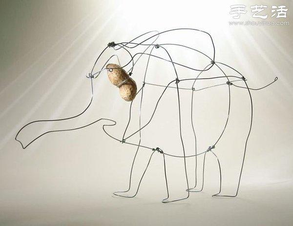 卡通大象素描画