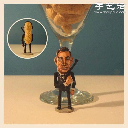 創意DIY:花生殼表面繪製人物肖像