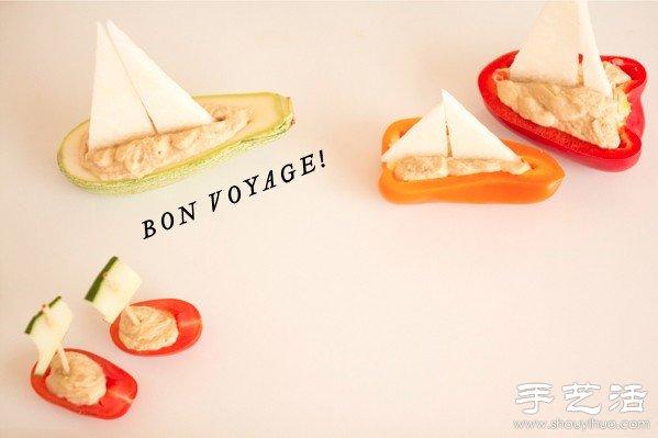 蔬菜DIY的小船,简单创意乐趣多!所选用蔬菜都是最常见的,有各种颜色的甜椒、冬瓜、黄瓜、圣女果(小番茄)、白萝卜(小编也不确定啊),用牙签当桅杆,分分钟一艘艘扬帆出海的小船就能手工DIY完成。充满趣味的食物创意,用在摆盘上一定能收获很多惊喜,给家里的孩子DIY这么一道不一样的菜肴,会不会让孩子们喜欢上吃蔬菜,健康快乐成长呢?!