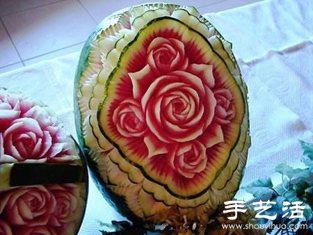 绝伦的的牡丹花西瓜雕刻 2