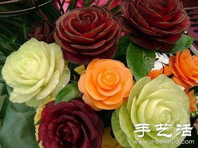 绝伦的的牡丹花西瓜雕刻 3