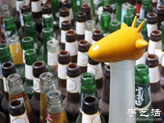 饮料瓶做动物的步骤图