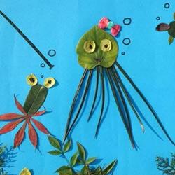 儿童树叶贴画——奇妙的海底世界