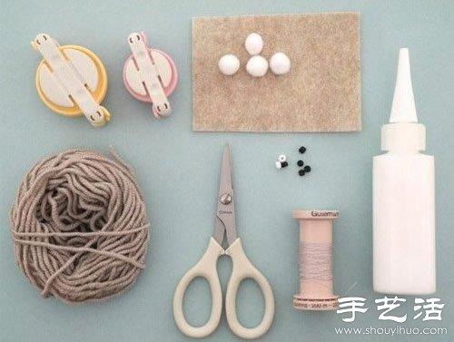 毛线+毛毡布 DIY手工制作兔子玩偶 -  www.shouyihuo.com