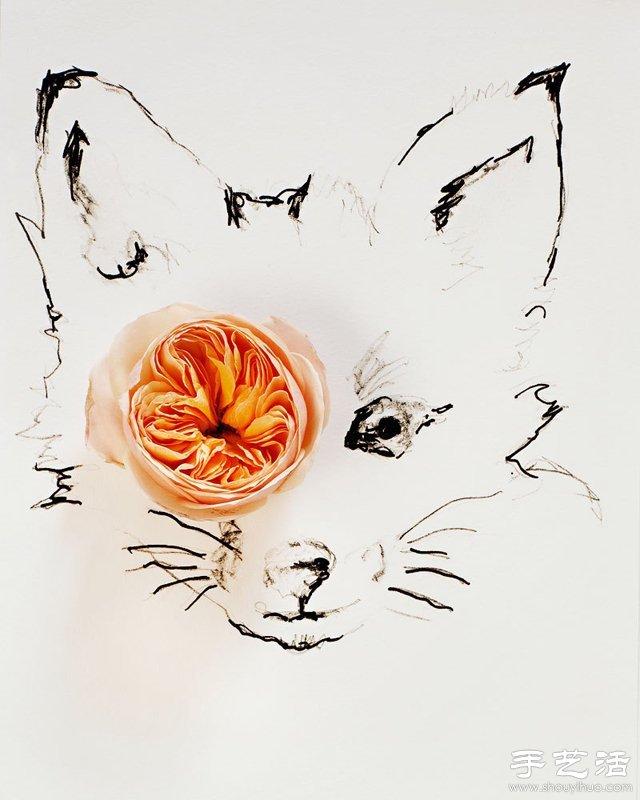 花朵与简笔画结合DIY奇妙昆虫图案