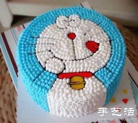 可亲可爱的机器猫蛋糕diy