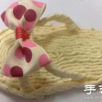 绸带+热熔胶 手工制作可爱家居拖鞋