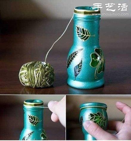 玻璃瓶变废为宝手工制作精致花瓶图片