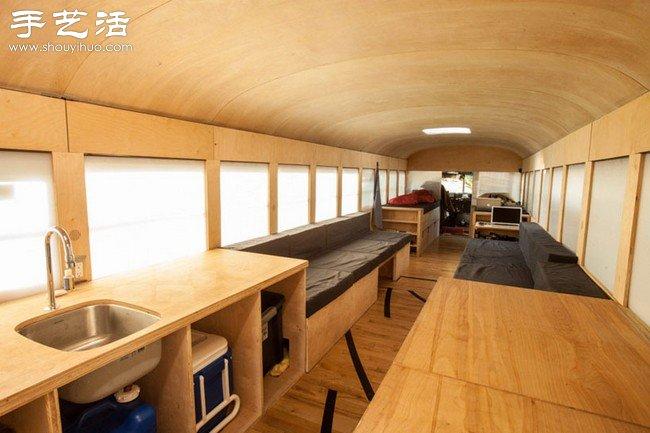 旧公共汽车DIY改装超大房车高清图片