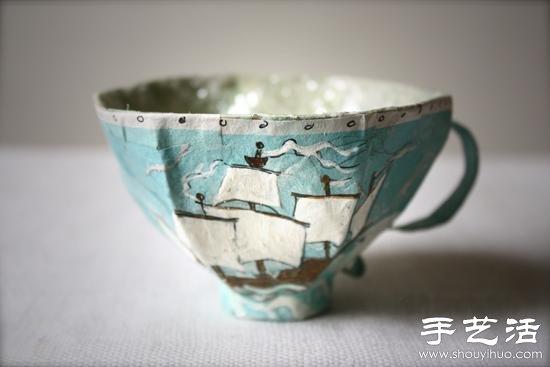 包装盒废物利用手工制作茶杯模型 - www.shouyihuo.com