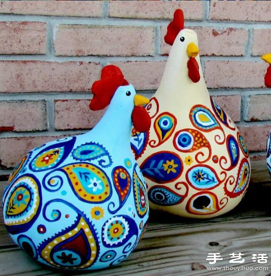 葫芦创意手工制作可爱大公鸡手工艺品