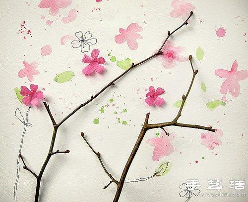 树枝、花朵和简单手绘DIY的漂亮图案,非常唯美清新,仿佛走进了落花缤纷的童话世界!