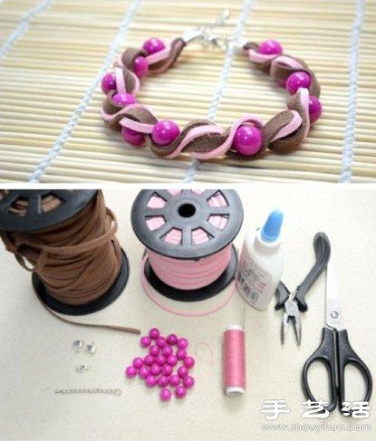 漂亮手链手工串珠DIY机床制作教程线切割步骤对刀操作皮革图片