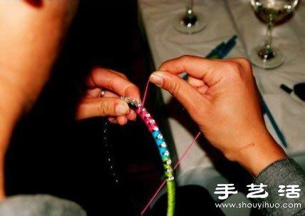 漂亮毛线带钻发箍手工制作教程