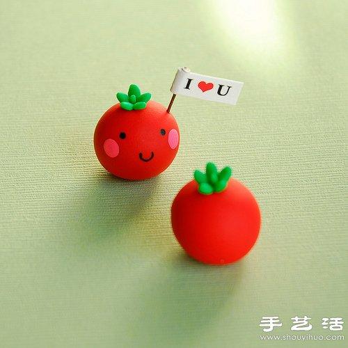 橡皮泥手工diy的可爱番茄小人