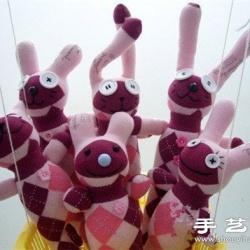 袜子+棉花+纽扣 手工制作兔子娃娃玩偶