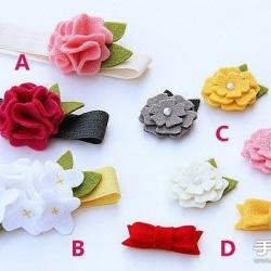 毛毡布+珍珠 手工制作漂亮装饰花朵/发夹