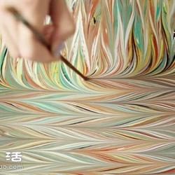 轧染工艺DIY手工制作带大理石纹路的丝巾