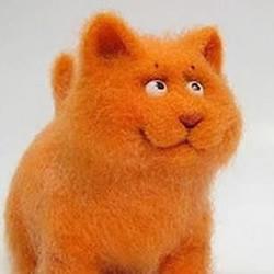 羊毛毡手工制作可爱加菲猫/肥猫咪玩偶