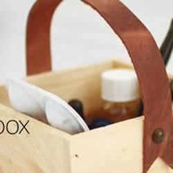 木箱安装皮质把手 DIY改造工具箱/收纳箱